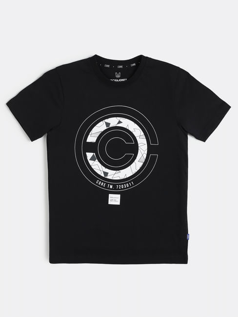 Boys Black Graphic Print Crew Neck T-shirt