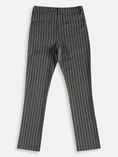 Boys Grey Mid Rise Striped Pants