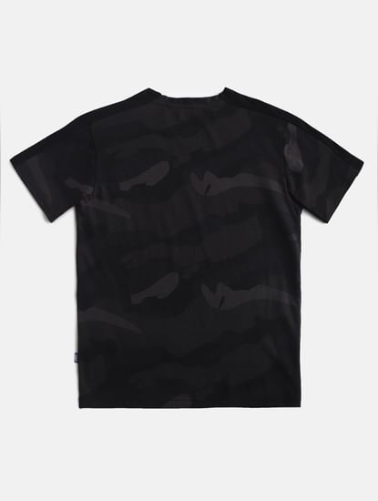 Boys Black Camo Crew Neck T-shirt