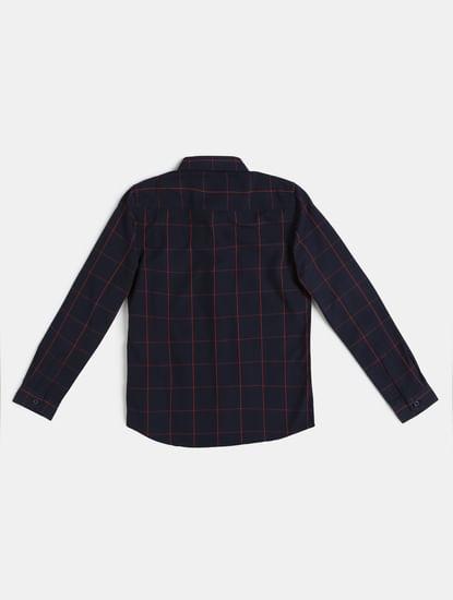Junior Blue Check Full Sleeves Shirt