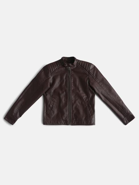 Boys Maroon Biker Jacket