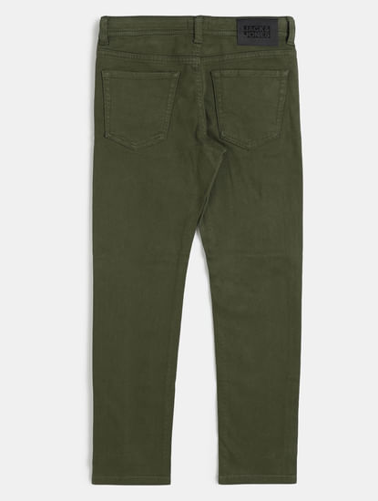 Boys Green Low Rise Glenn Slim Fit Jeans