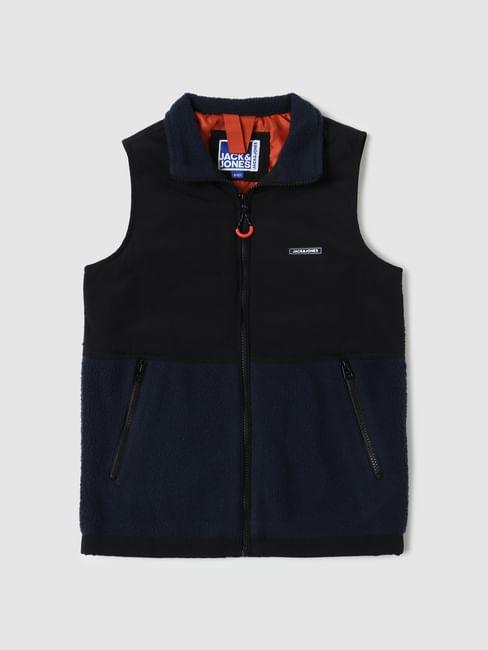 Boys Black Colourblocked Jacket