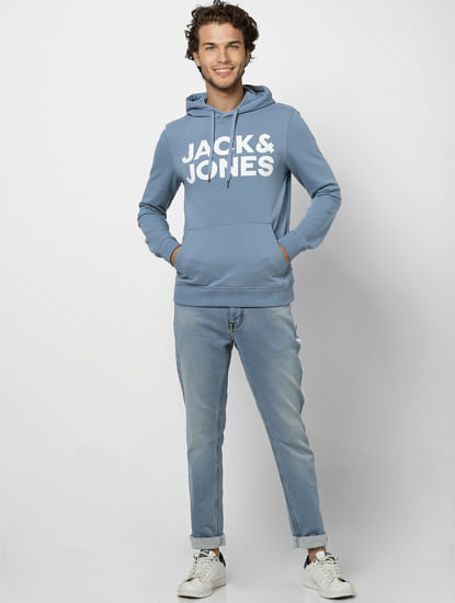 Blue Logo Print Hooded Sweatshirt