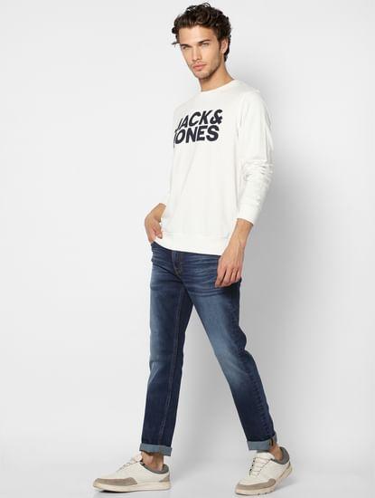 White Hooded Logo Print Sweatshirt
