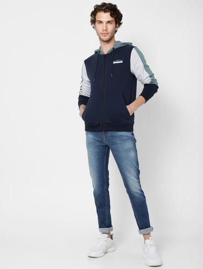 Blue Colourblocked Hooded Sweatshirt