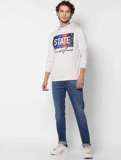 White Text Print Hooded Sweatshirt