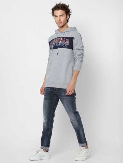 Grey Logo Print Hooded Sweatshirt