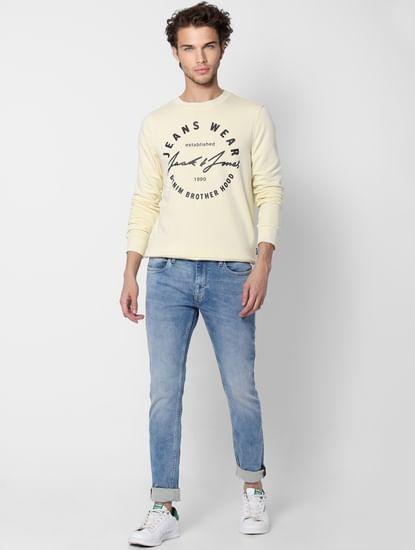 Light Yellow Logo Print Sweatshirt