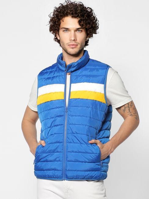 Blue Colourblocked Sleeveless Puffer Jacket
