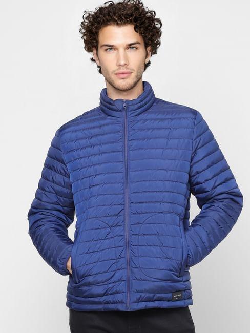 Blue High Neck Puffer Jacket