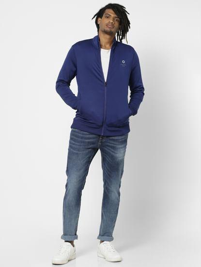 Blue High Neck Jacket