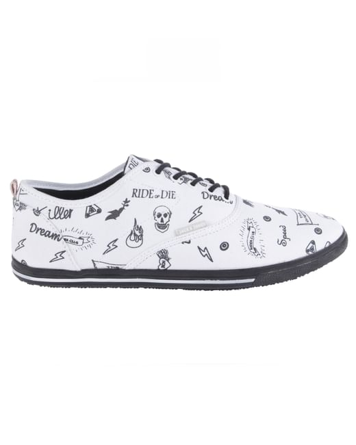 White Graphic Print Sneakers