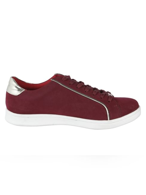 Maroon Lace Up Sneakers
