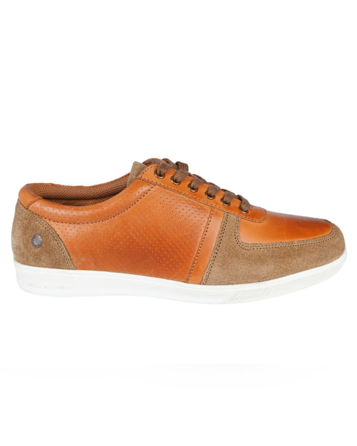 Tan Colourblocked Sand Leather Sneakers