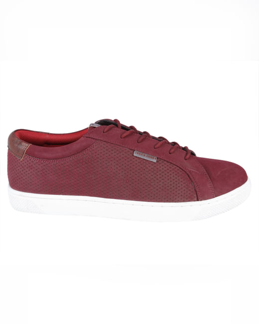 Red Synthetic Suede Sneakers