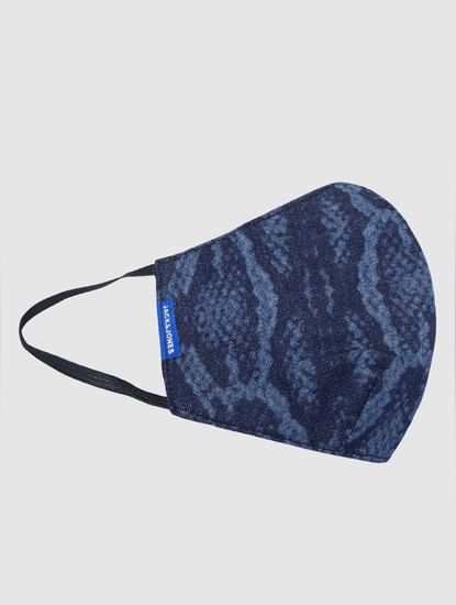 Blue Animal Print Lightweight Denim 3PLY Mask