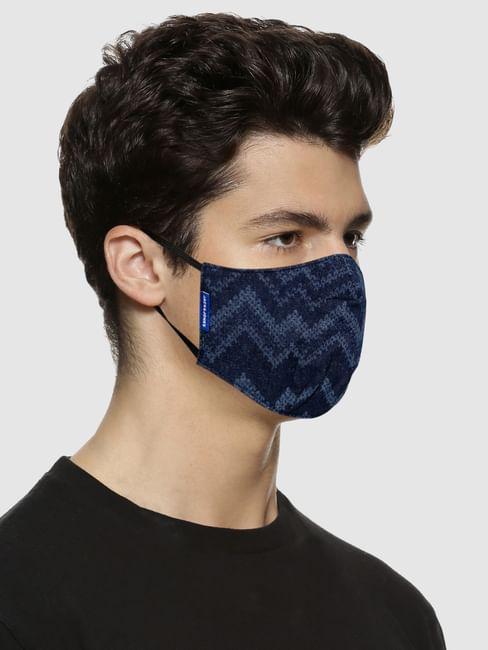 Blue Abstract Print Lightweight Denim 3PLY Mask