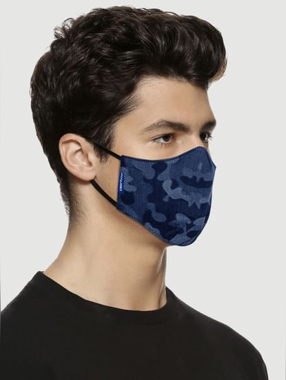 Blue Camo Print Lightweight Denim 3PLY Mask
