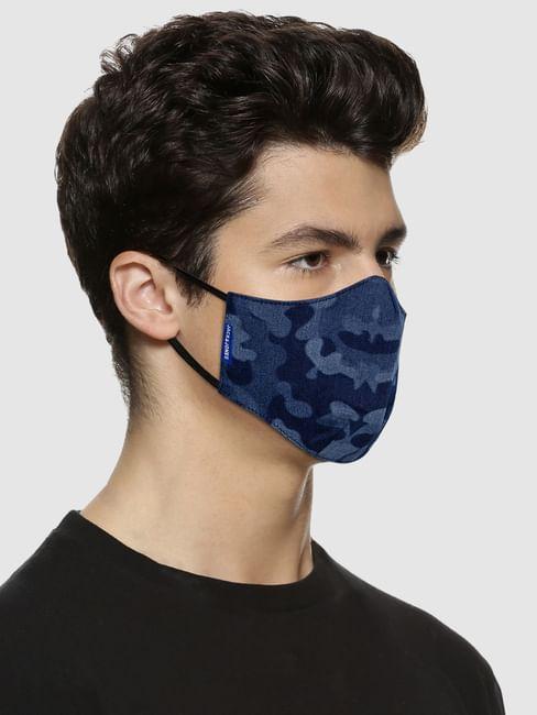 Blue Camo Print Lightweight Denim 3PLY Mask