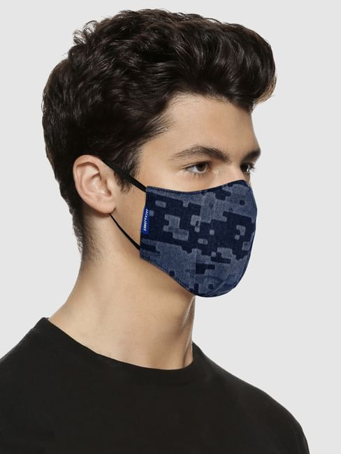 Blue All Over Print Lightweight Denim 3PLY Mask