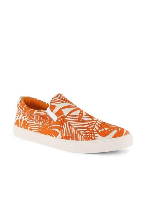 Orange Tropical Print Slip Ons