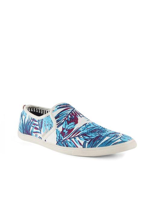 Blue Tropical Print Slip Ons