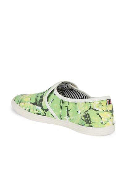 Green Tropical Print Slip Ons
