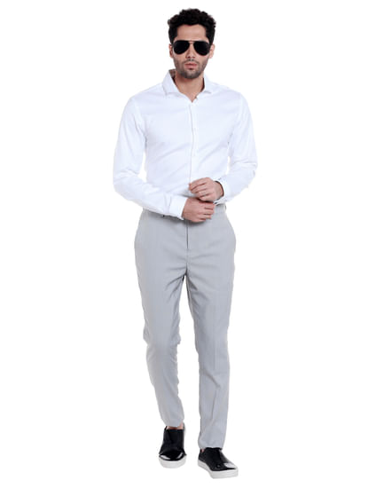 Grey Mid Rise Formal Trousers