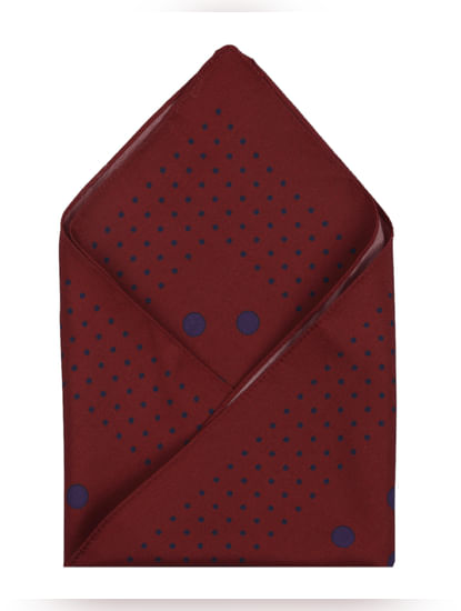 Deep Red Dotted Pocket Square