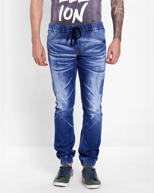 Blue Mid Rise Glenn Washed Slim Fit Jeans