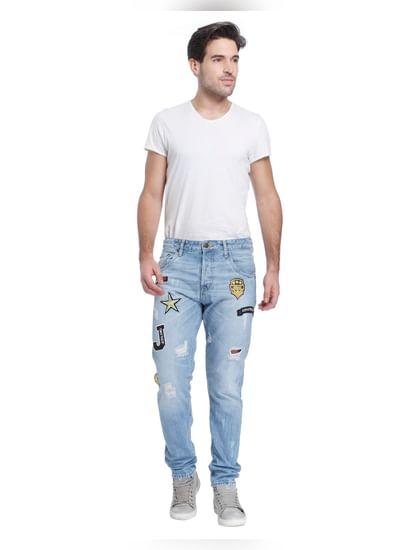 Blue Mid Rise Erik Patch Print Anti-Fit Jeans