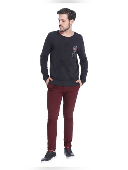Black Placement Print Sweatshirt