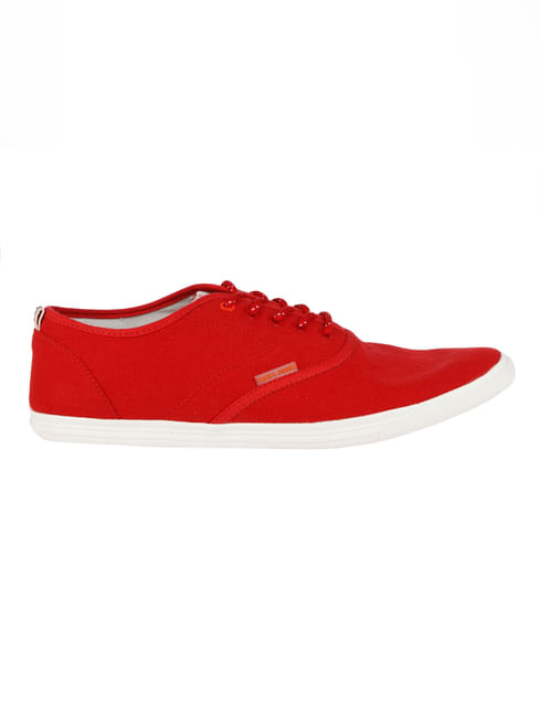 Bright Red Solid Sneakers