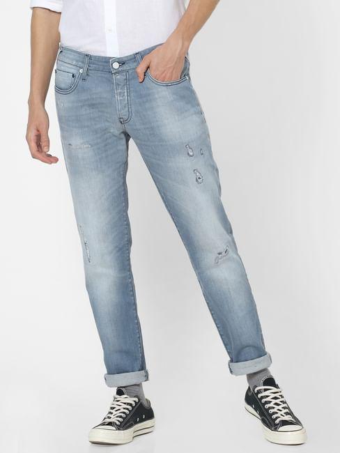 Blue Low Rise Glenn Distressed Slim Fit Jeans
