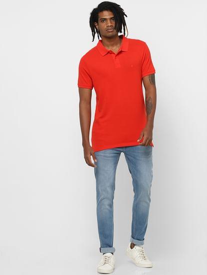Bright Orange Polo Neck T-shirt