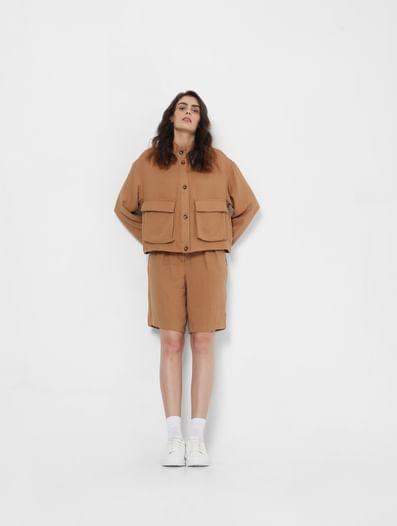 Brown High Neck Jacket