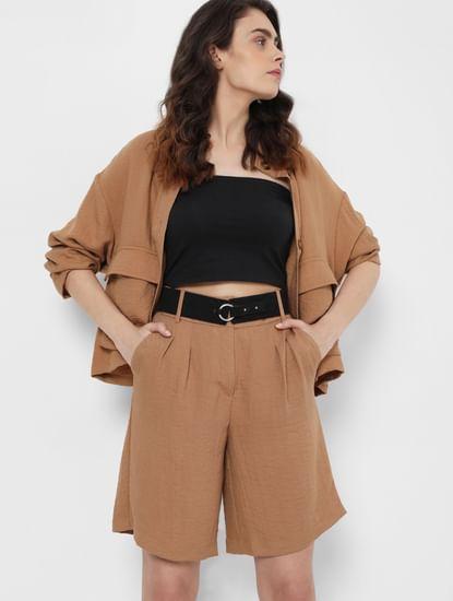 Brown High Rise Shorts