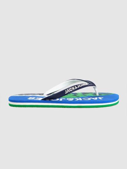 Blue Logo Print Flip Flops