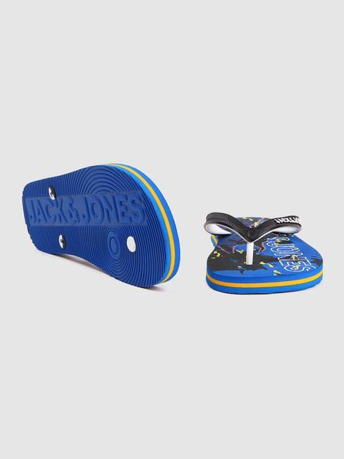 Blue Abstract Print Flip Flops