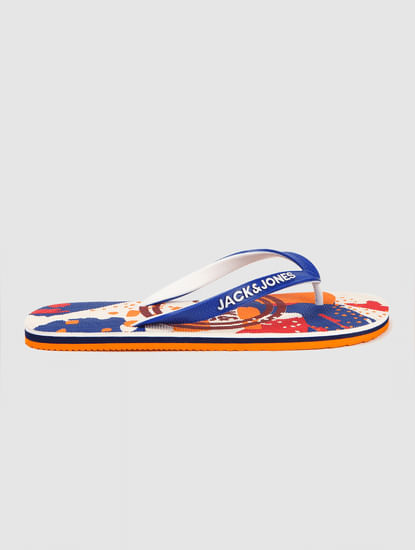 Multi-coloured Abstract Print Flip Flops