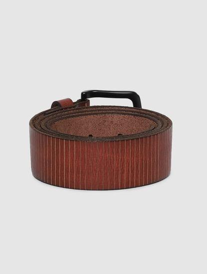 Brown Vertical Striped Leather Belt