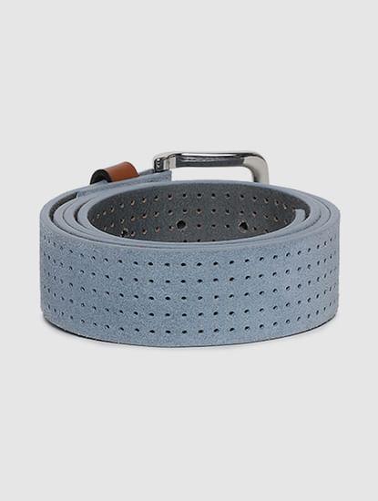 Blue Patterned Leather Belt