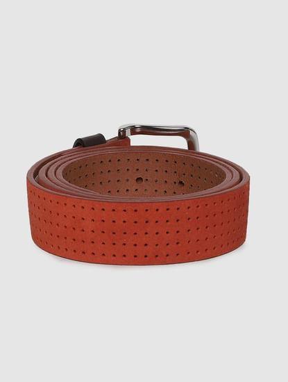 Burnt Orange Patterned Leather Belt
