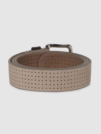 Beige Patterned Leather Belt