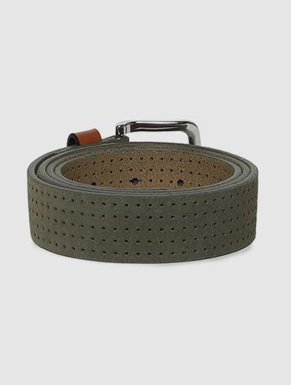 Green Patterned Leather Belt