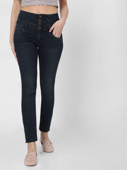 Dark Blue High Rise Corset Waist Skinny Jeans