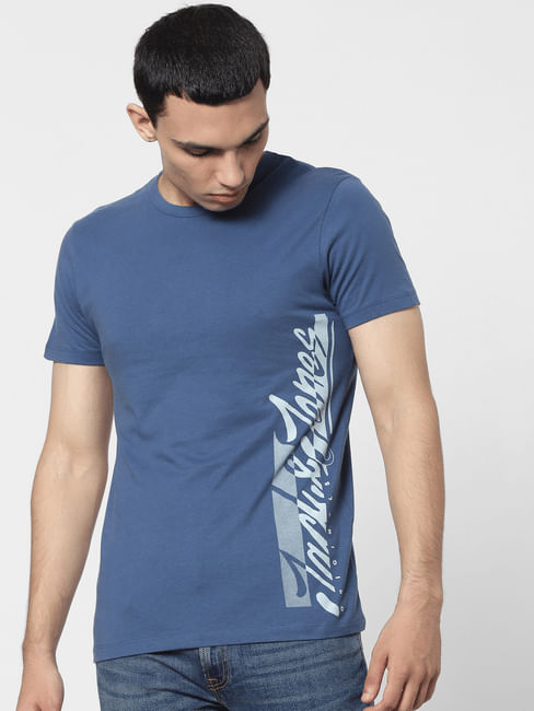 Blue Logo Print Crew Neck T-shirt