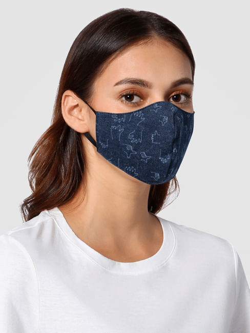 Blue Hands Print 3PLY Anti-Viral Mask