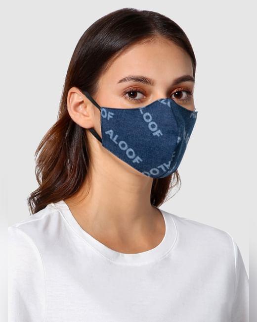Blue Text Print 3PLY Anti-Viral Mask